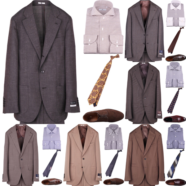 ブラウンスーツの着こなしコーディネート