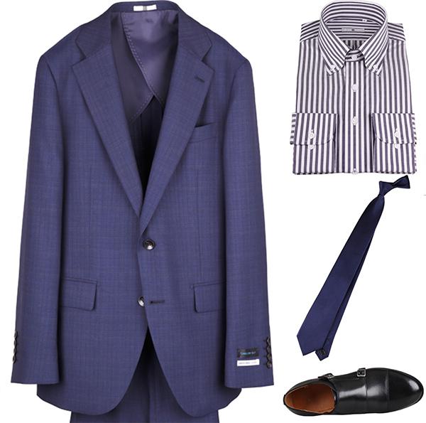 ソリッド(無地)ネクタイの着こなしコーディネート例