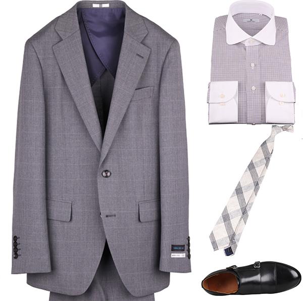 チェックネクタイの着こなしコーディネート例