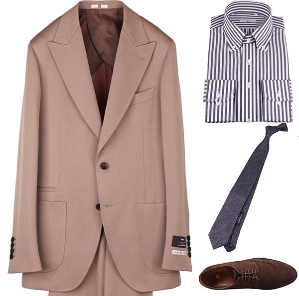 ブラウンスエードの着こなしコーディネート例