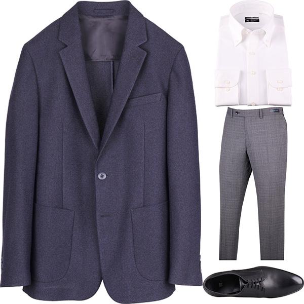 今日のコーディネート ネイビーのジャケット×ホワイトのシャツ×グレーのパンツ
