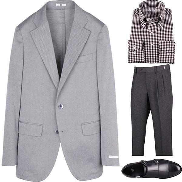 今日のコーディネート グレーのジャケット×ブラウンチェックのボタンダウンシャツ
