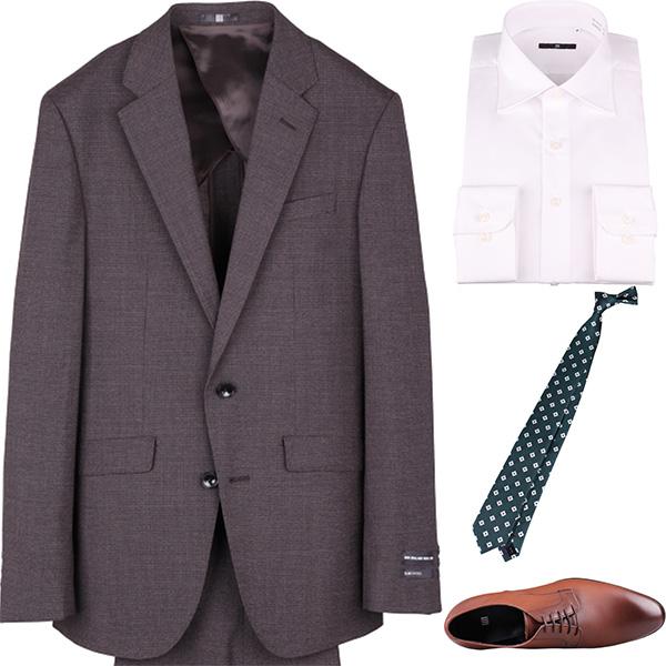今日のコーディネート ブラウンハウンドトゥースのスーツ×ホワイトのシャツ