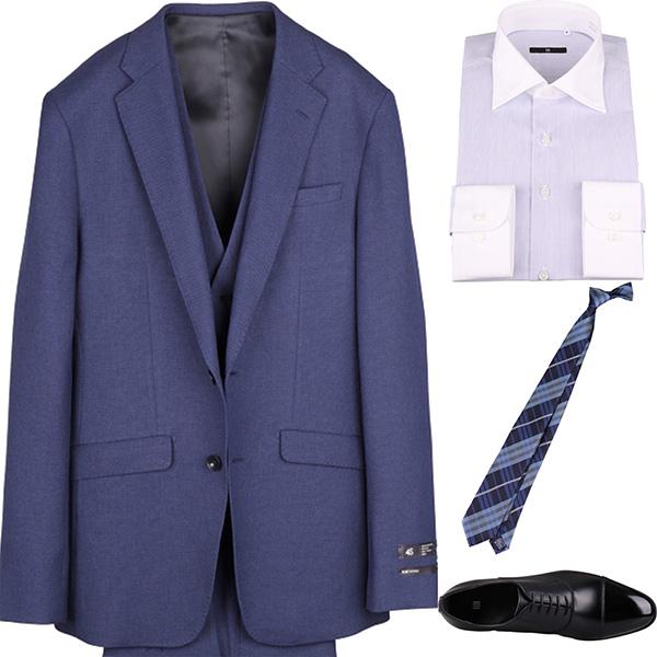 今日のコーディネート ネイビーのスリーピーススーツ×ホワイト&ブルーのシャツ