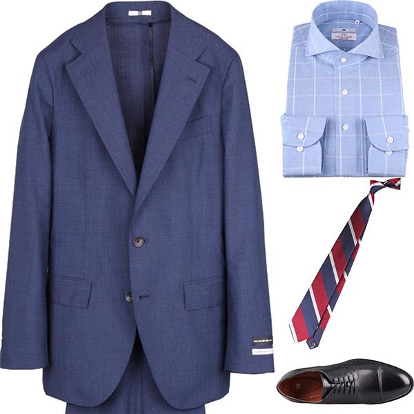 今日のコーディネート ライトネイビーのスーツ×ブルーチェックのワイドカラーシャツ