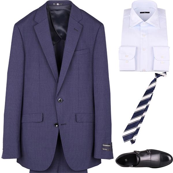 今日のコーディネート ネイビーのハウンドトゥーススーツ×サックスブルーのシャツ