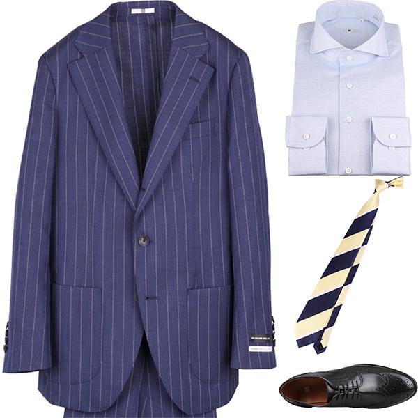 今日のコーディネート ネイビーストライプのスーツ×サックスのワイドカラーシャツ
