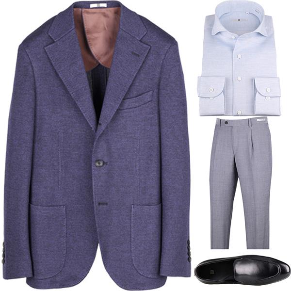 今日のコーディネート ネイビージャケット×サックスワイシャツ×グレーパンツ