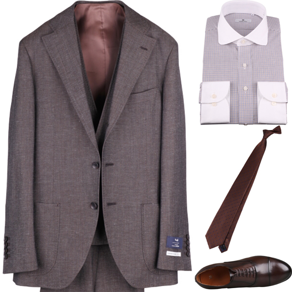 ブラウンスリーピーススーツ