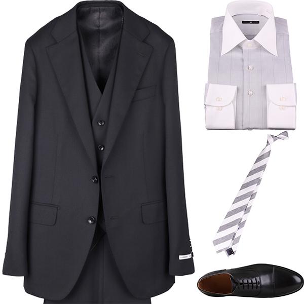 ブラックスリーピース結婚式スーツ