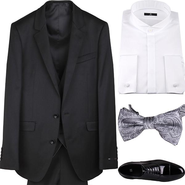 ブラックソリッドスリーピーススーツ