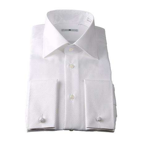 白ツイルワイドスプレッドカラーシャツ(ダブルカフス仕様)
