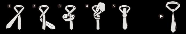necktie ネクタイの結び方 プレーンノット 大剣と小剣を締める方法。 大剣(剣が太い方)を長めにとり、小剣(剣が細い方)の上で交差します。 大剣を小剣の裏へ通します。 大剣をもう一度、小剣の上で巻きます。 大剣を裏側から首もとへ通します。 結び目のループ状の部分に、大剣を上から通します。 ディンプル(えくぼ)を作りながら、結び目を締めて完成です。