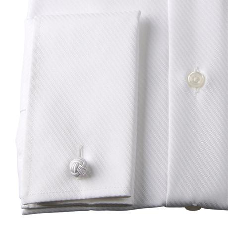 白のツイル ダブルカフスシャツの袖アップ