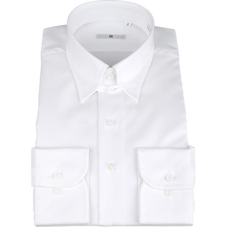 白のタブカラーシャツ全体