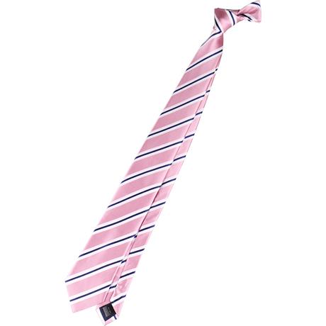 neckti:ピンク・シルクのレジメンタル、細いストライプ、リバース。定番、シャツにコーディネートしやすい