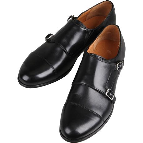 黒の革靴ダブルモンクストラップ