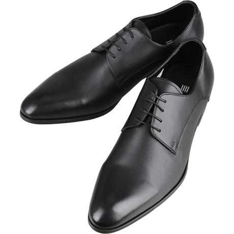 黒の革靴プレーントゥ