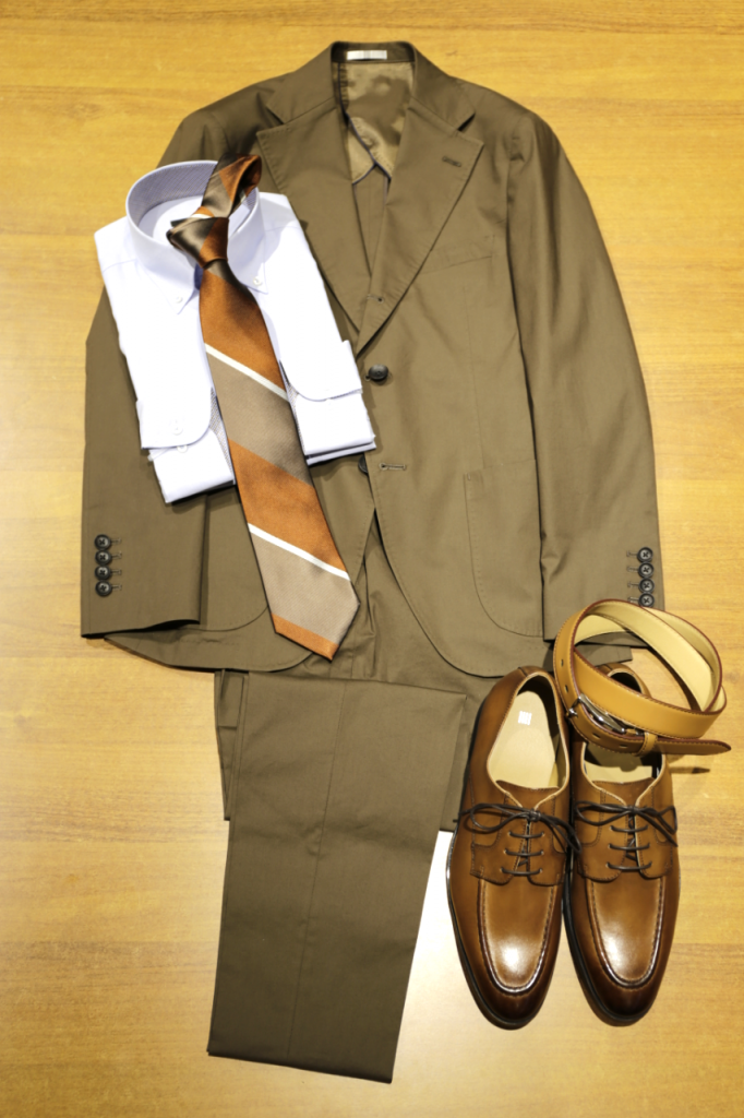 コットンブラウンスーツ