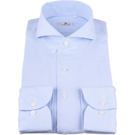 サックスブルーワンピースカラーシャツ