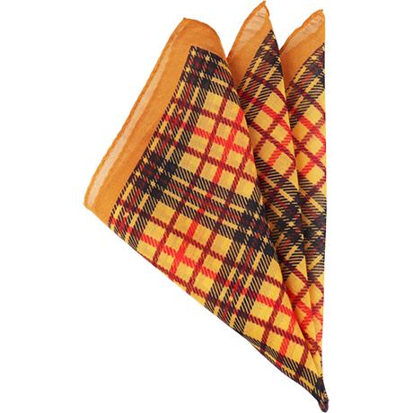 チェックオレンジポケットチーフ