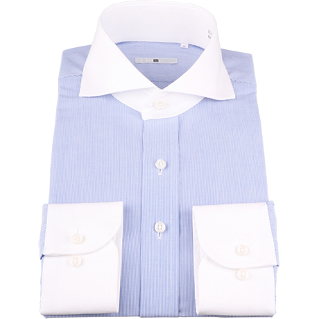 サックスブルークレリックシャツ