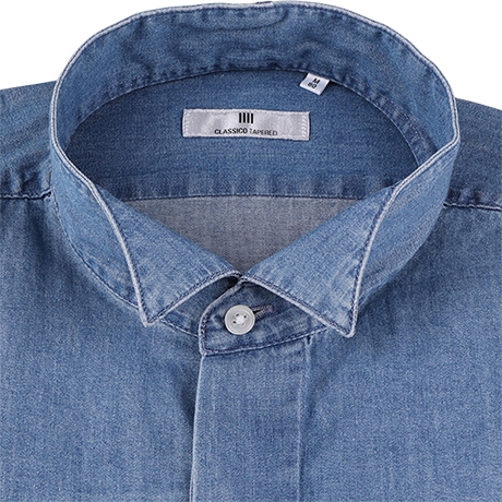 デニムウィングカラーシャツ