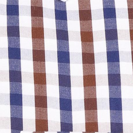 白とネイビーとブラウンのギンガムチェックシャツ