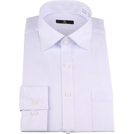 サックスブルーシャツ セミワイドカラー