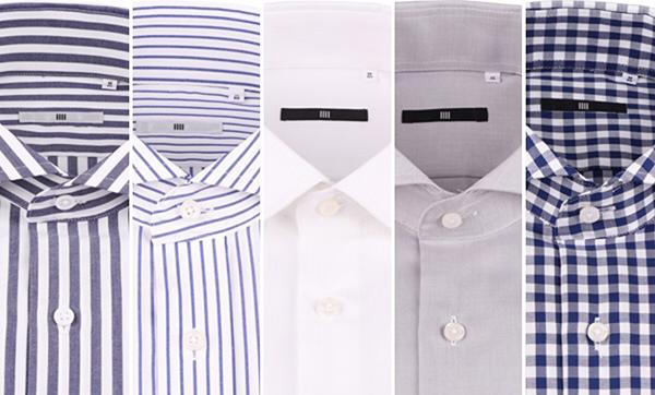 シャツ、柄のバリエーション(左からネイビーロンドンストライプ、ブルーペンシルストライプ、白無地、グレー無地、ネイビーギンガムチェック)
