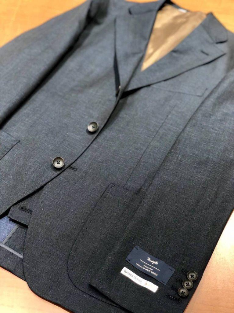 イタリアのマルゾット社生地 リネン混のネイビーソリッドスーツ