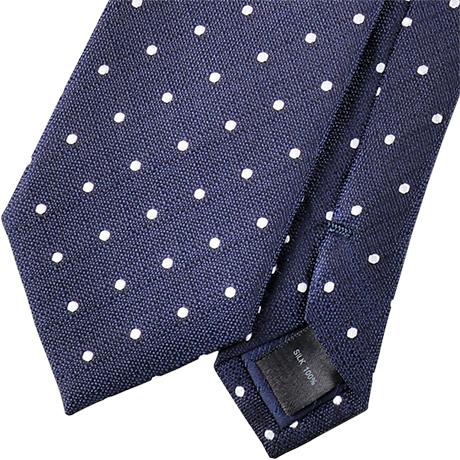 ネイビーベース白のポルカドット柄のネクタイ