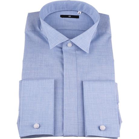 サックスブルーウィングカラーシャツ