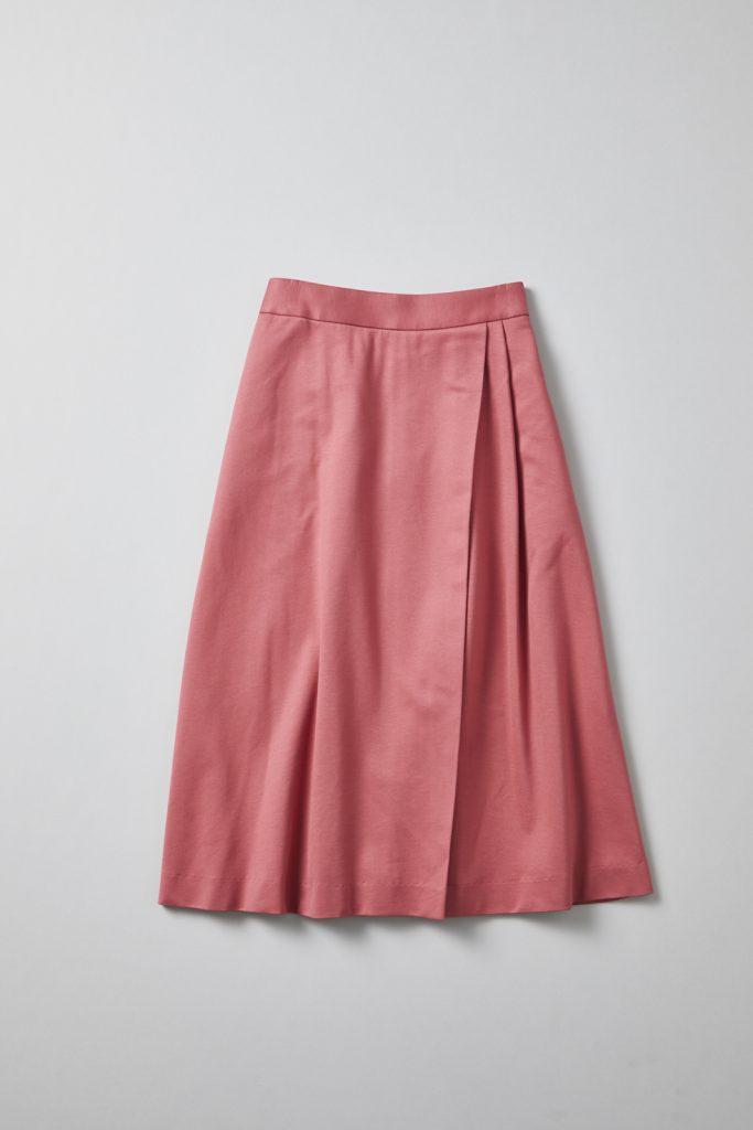 アシンメトリー、ミモレ丈Aラインスカート(赤色)