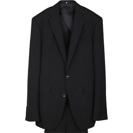 【KSW】2釦シングルスーツ 0タック/ネイビー×ストライプ/SUPER TOUGH 100's