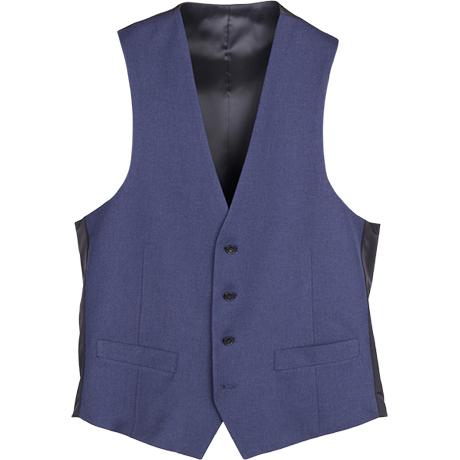 【SLIM TAPERED_2】2釦シングルスリーピーススーツ 0タック/ネイビー×バーズアイ/4S/※パンツ裾上げ済仕様 商品番号 BLKP2050-11のベスト