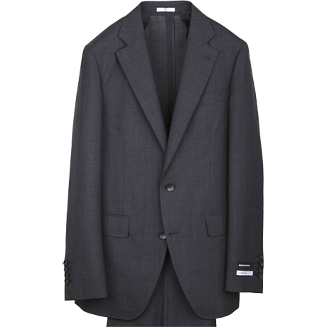 New ZealandWool MIXのチャコールグレーのグレナカートチェックのスーツ