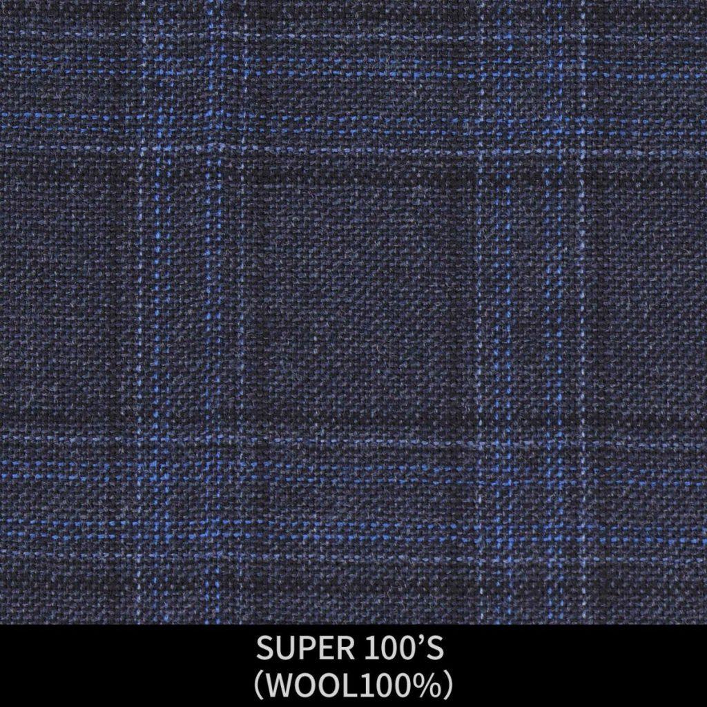 【MEN'S】【パターンオーダー】【KSW】スーツ/ネイビー&ブルー×チェック/SUPER 100'S (WOOL100%) 商品番号 KSW-086445 ¥ 48,000 +税