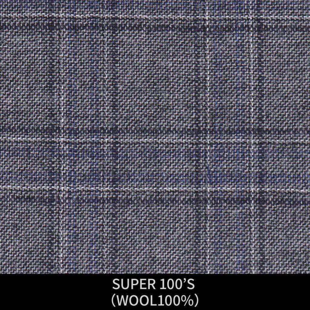 【MEN'S】【パターンオーダー】【KSW】スーツ/グレー&ブルー×チェック/SUPER 100'S (WOOL100%) 商品番号 KSW-086453 ¥ 48,000 +税