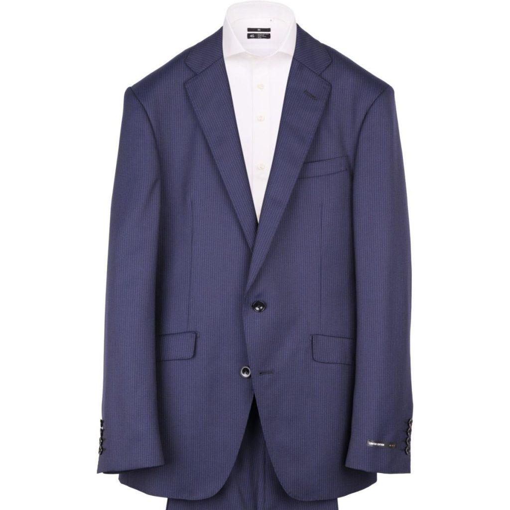 BLR2007-11 KSWダブルパンツのネイビーストライプスーツ ¥38,000